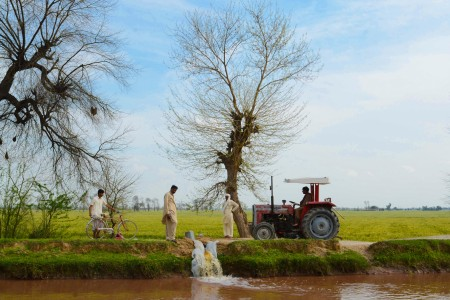 Farmers let out excessive water from their fields.