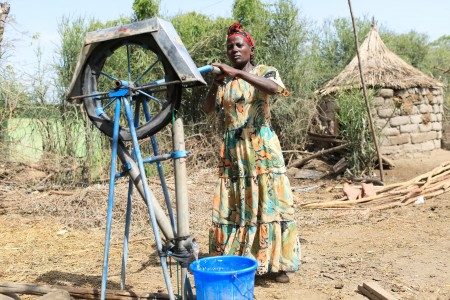 Aregash Bacha pumps water from her private well, near Meki.