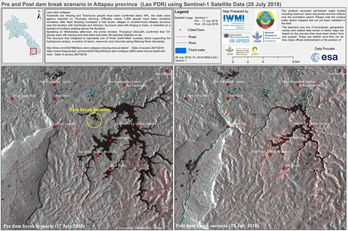 Inundation extent downstream of dam failure in Laos.