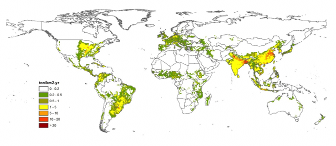 Nitrogen emissions from agriculture in the base period (2001-2005)