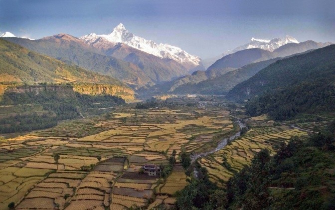 Example of a landscape that addresses both agriculture and conservation goals, Pokhara Valley, Nepal. Credit: S.Sthapit/LI-BIRD