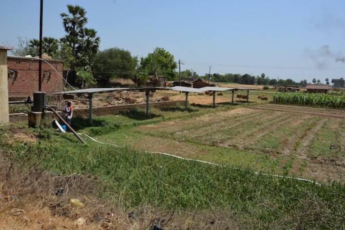 Solar pumps in the fields of the Nalanda district in Bihar.  Photo: Tushaar Shah
