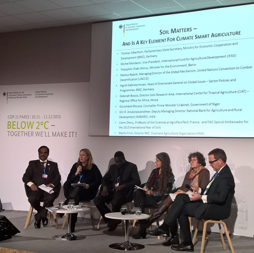 Deborah Bossio took part in a panel discussion on soils at a COP21 side event.