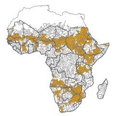 Map highlighting river basins in Africa with physical water availability constraints.  Credit: Hua Xie/IFPRI