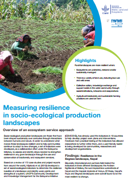 Measuring resilience  in socio-ecological production  landscapes