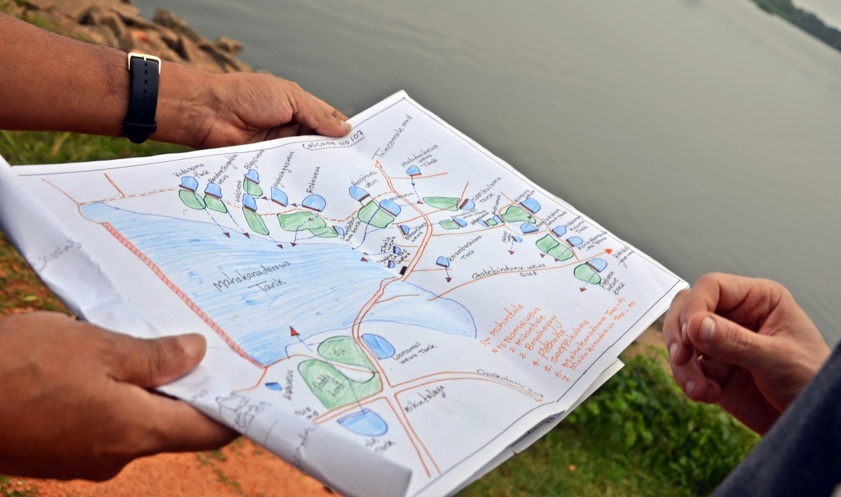 A hand drawn map of one of the tank cascade systems in the Malwathu Oya River Basin of Sri Lanka