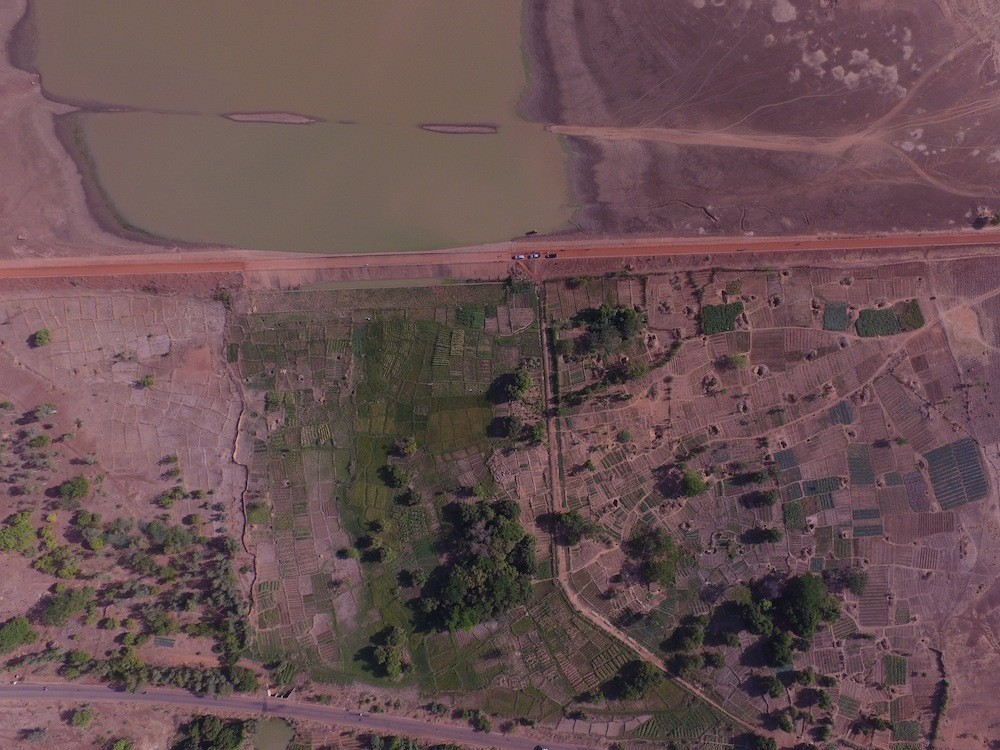 Aerial image over dam and irrigation scheme at Bidiga, 20 April 2016