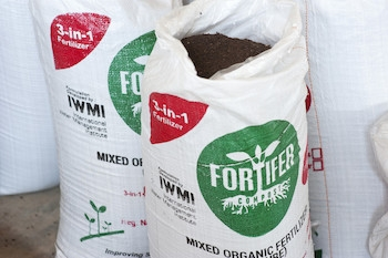 Bags of fortifer at the fertifer plant, IWMI Accra