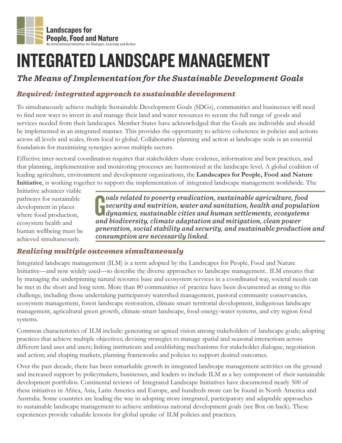 Integrated Landscape Management for the SDGs Statement