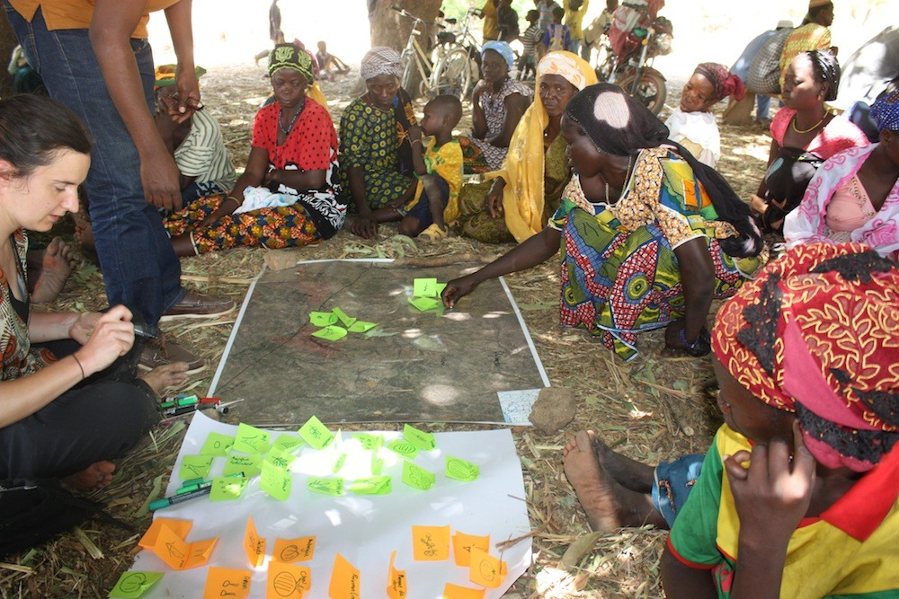 Sarah Jones and Mansour Boundraogo mapping land use patterns with women farmers in Ladwenda, 19 April 2016.