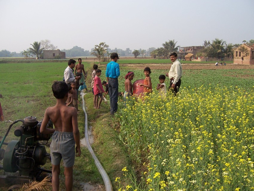 Measuring the discharge from a diesel pump in West Bengal, India