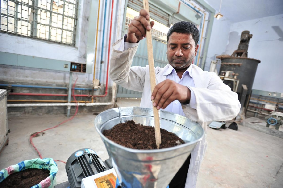 The process of turning processed and enriched human waste into safe nutritous fertilizer pellets.