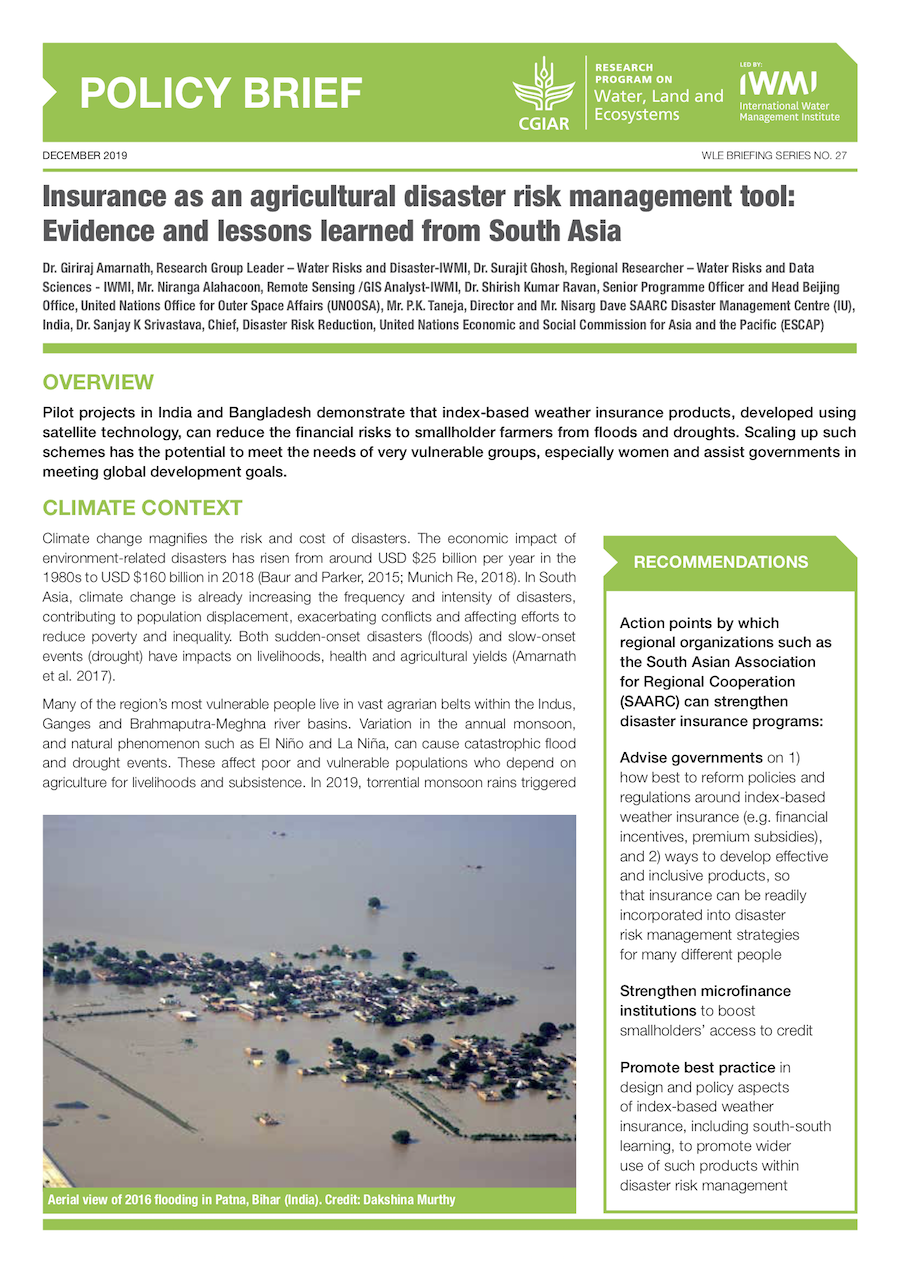 Insurance as an agricultural disaster risk management tool: Evidence and lessons learned from South Asia