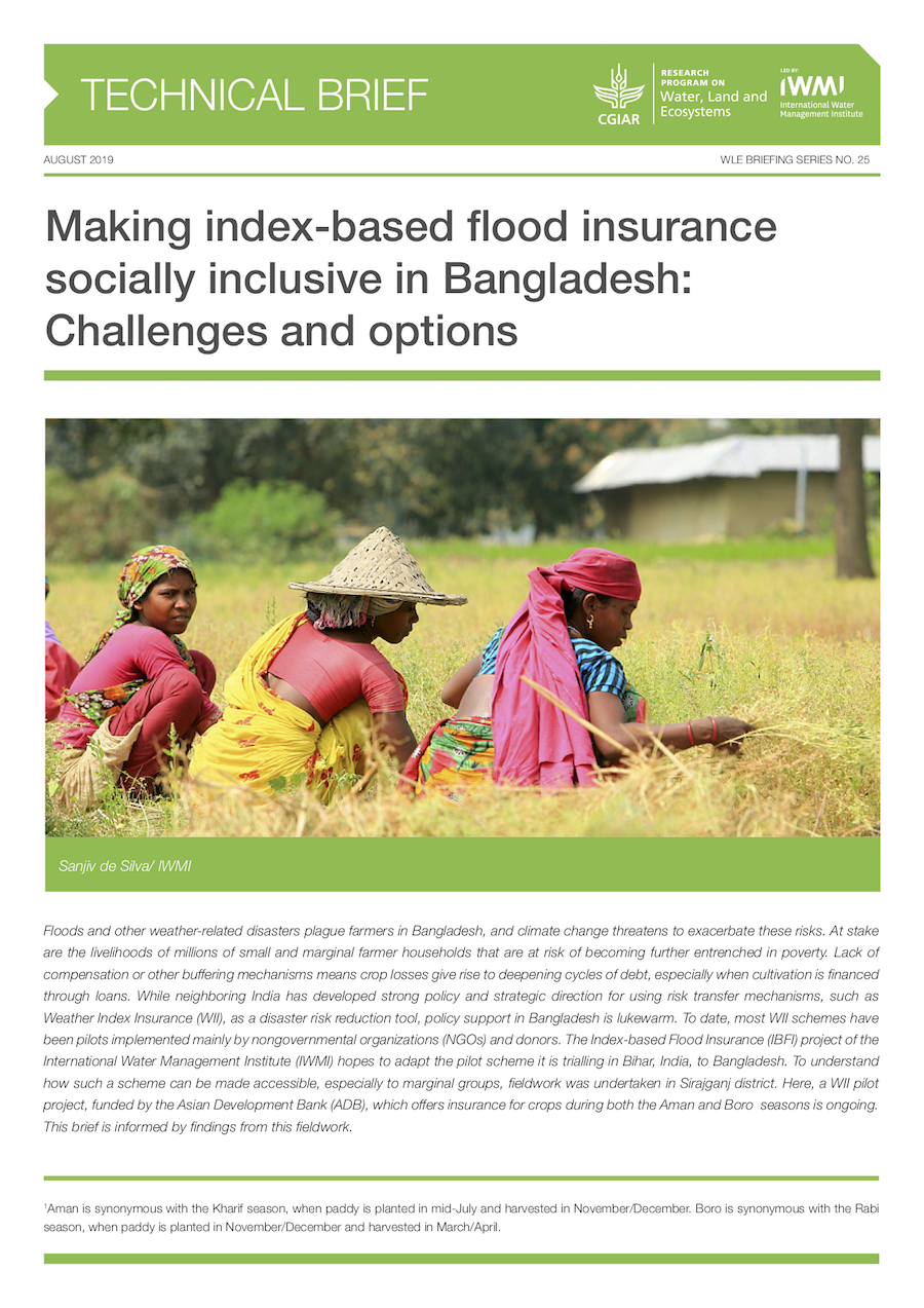 Making index-based flood insurance socially inclusive in Bangladesh: Challenges and options