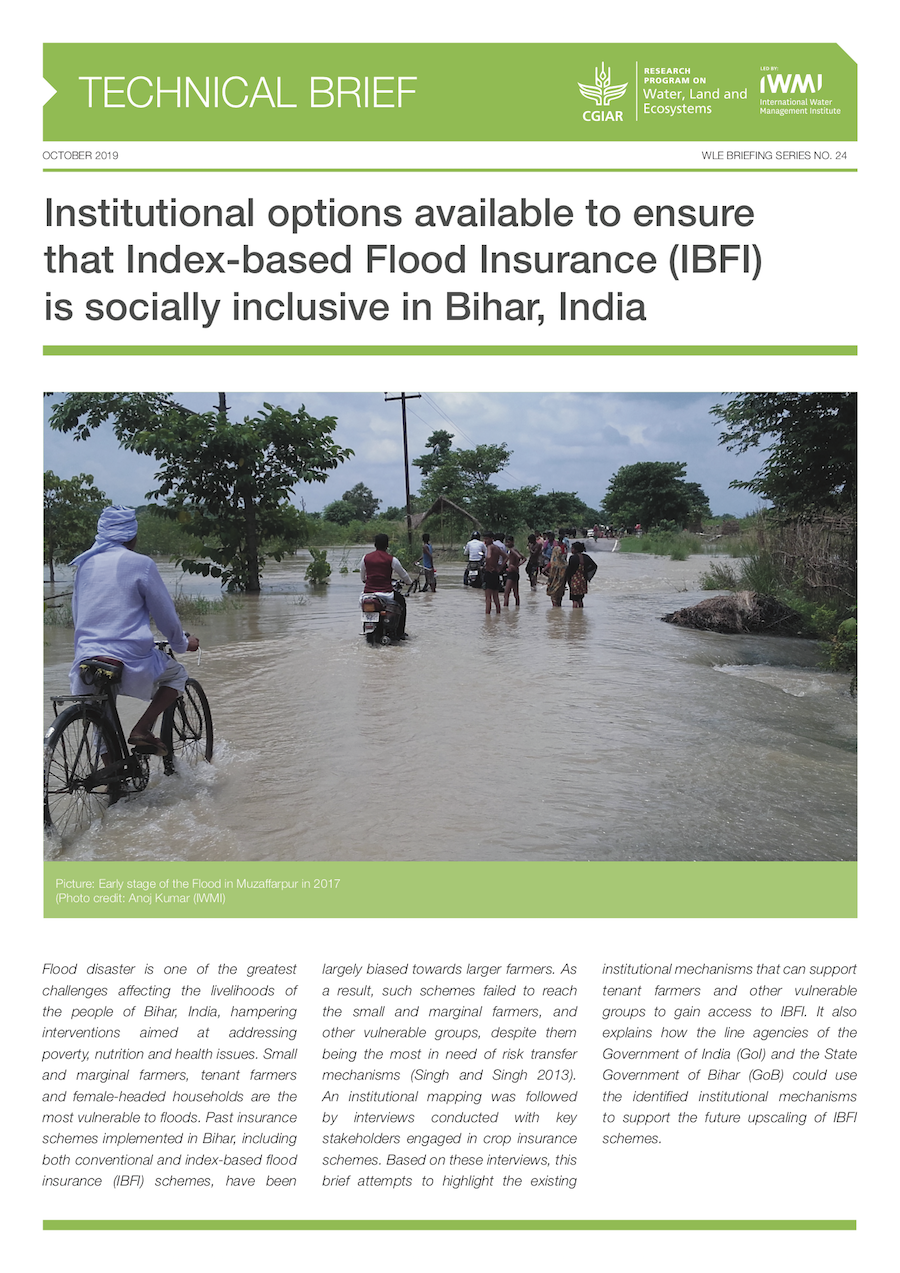 Institutional options available to ensure that index-based flood insurance (IBFI) is socially inclusive in Bihar, India