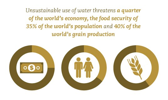 Unsustainable use of water threatens the food security of 2.5 billion people, 40% of the world's grain production and a quarter of the world's economy