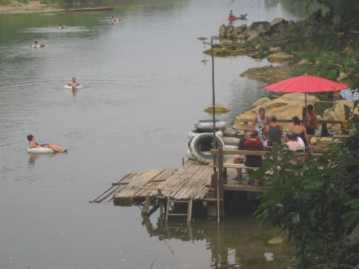 Tourists tubing in the Nam Xong river, also spelled Nam Song.