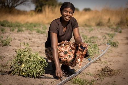 A woman in Kenya's Central Region with a solar irrigation pump she uses on her farm.