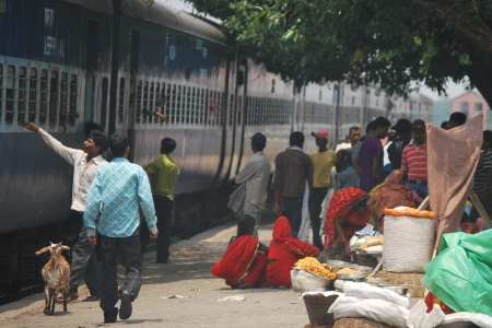 People waiting at a train station in rural Uttar Pradesh, northern India.