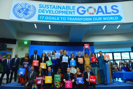 Ban Ki Moon promoting the Sustainable Development Goals in Vienna