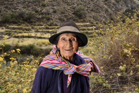 A farmer in the upper portion of the Cañete River basin, Peru