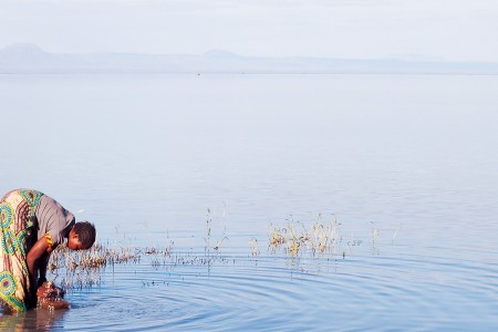 Woman gathering water in Malawi
