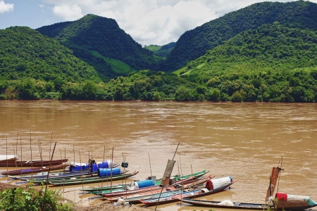 boats on Lao river