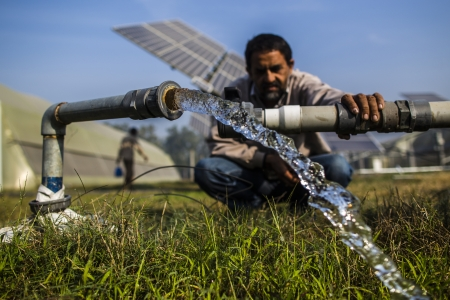 Pumping groundwater with the energy generated from solar panels