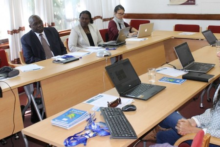 Participants at the WA+ roundtable discussion in Addis Ababa discuss the thematic sheets produced by the project.