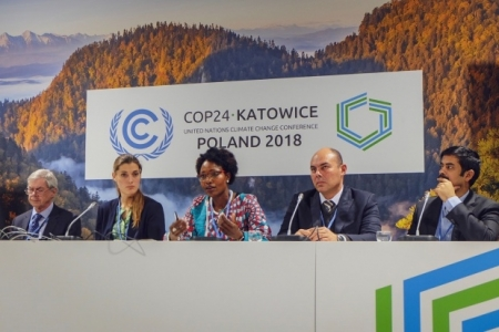 Panelists at the CSA Investment Advantage event, part of the Agriculture Advantage 2.0 event series at COP24, discuss best-bet CSA technologies and practices.