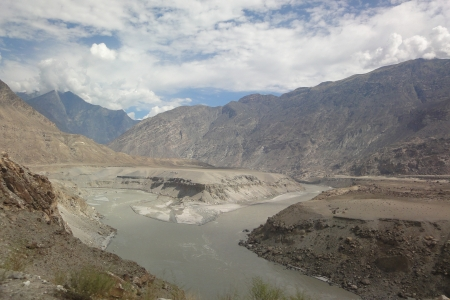The confluence of the Indus and Gilgit rivers in northern Pakistan.