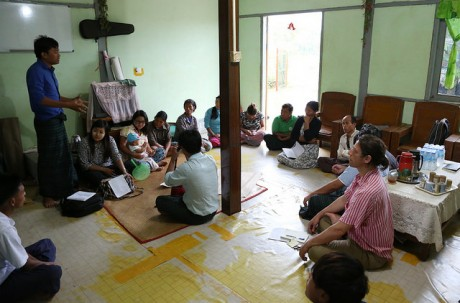 villagers and researchers in Aung Myin Tha Village